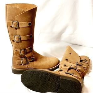 Tall Sundance Boots Tan Suede (Missing Buckle) 8